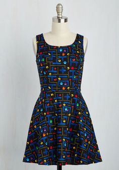 Name of the Gamer A-Line Dress. With tokens jingling in the pockets of this black cotton frock, you bop through the arcade looking as cute as can be! #multi #modcloth