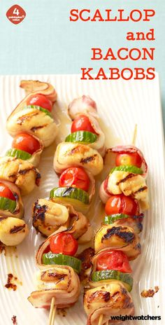 Bacon, scallops, veggies, repeat! These Scallop Bacon Kabobs are delicious grilled or broiled!
