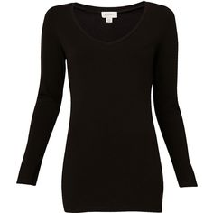 Witchery Cotton Long Sleeve V Neck ($19) ❤ liked on Polyvore featuring tops, shirts, sweaters, black, blusas, extra long sleeve shirts, v-neck tops, long sleeve cotton shirts, long sleeve shirts and v neck collared shirt