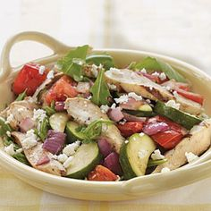Grilled Chicken and Vegetable Arugula Salad | MyRecipes.com #myplate #protein #vegetable