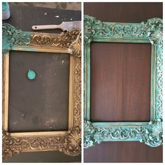 Before & After, ornate gold frame painted with chalk paint and wet distressed.
