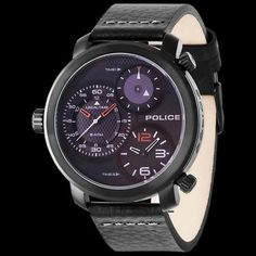 Police men s mamba black leather watch 6db6a3f90d