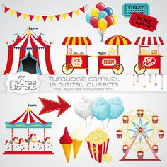 Carnaval de bleu et rouge / cirque - 16 cliparts numériques - INSTANT DOWNLOAD