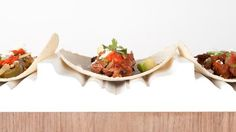 chorizo spiced pork belly taco...on moulding beds....creative!