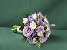 Lilac Eustoma and Blue Rose and White Ranunculus bridesmaid bouquet - made by Farmgate Floral Design for wedding show in Forfar. Feb. 2013