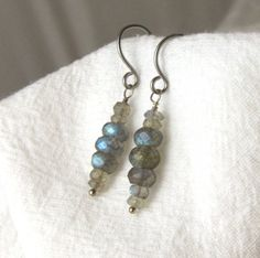 Labradorite Earrings Dangle hypoallergenic by RocksMapsandCrafts, $27.00