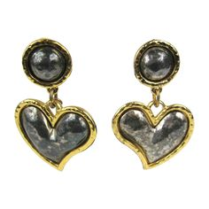 Large Edouard Rambaud Heart Dangle Earrings  | From a unique collection of vintage clip-on earrings at https://www.1stdibs.com/jewelry/earrings/clip-on-earrings/