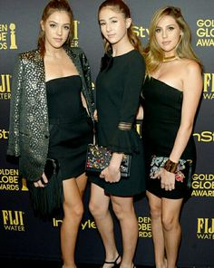 Sylvester Stallone's three beautiful daughters, Scarlet, Sistine and Sophia, will all share the title of Miss Golden Globe 2017 — find out how their famous dad told them they'd be getting the honor! Golden Globe Award, Golden Globes, Sophia Stallone, Yellow Dress, Dress Red, Sylvester Stallone, Awards 2017, Scarlet, Celebrity News