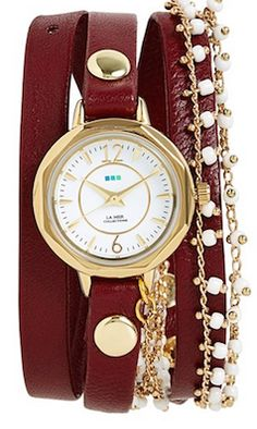 Wrap around marsala wrist watch