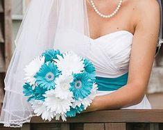 15 Piece Daisy Bridal Bouquet Wedding Bouquet Set Malibu Blue White Bouquet, Maliblu Blue Wedding, Malibu Blue Bouquet