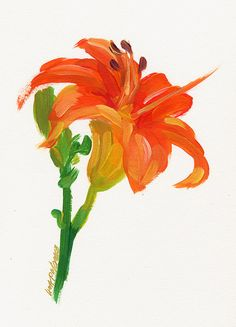 Contemporary ORIGINAL tiger lily painting by by lisapalombostudios, $49.00