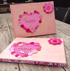 Baby kamer schilderijtjes met naam#roze#knoopjes#stof#houten naam letters