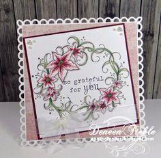 Heartfelt Creations, Daphne Paper Collection, Botanical Oval stamp set, Decorative Lace Border, Copics.