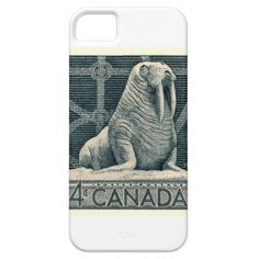 Shirts, clothing, drink ware, iphone, ipod and ipad covers, home accessories featuring a vintage engraved 1954 postage stamp issued by Canada from a series commemorating native wildlife, here depicted is a walrus (Odobenus rosmarus).  #canada, #walrus, #marinelife, #postagestamp, #philately, #canadianwildlife, #tusk, #seal, #arctic, #vintage, #ephemera, #fauna, #postage, #canadian, #iphonecase