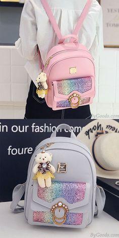 fe2f6ae348a3 Fresh Rainbow Sequin Student Bag Pearl School Girl s Backpack for big sale!   rainbow
