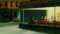 """Nighthawks"" by Edward Hopper. Edward Hopper was an American realist painter. Classic Paintings, Great Paintings, Artwork Paintings, Popular Paintings, Painting Art, American Realism, American Artists, Edouard Hopper, Edward Hopper Paintings"