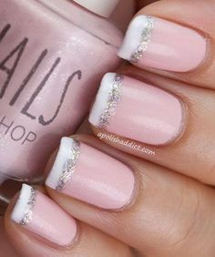 Baby Pink French Nail Tipped with White and Glitter.
