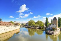 Strasbourg, towers of medieval bridge Ponts Couverts. Alsace, Fr