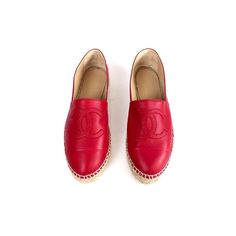 Chanel red lambskin leather espadrilles  size 38  worn just one time  comes with box and dust bags   double stacked heel  asking $710  comment for more information or to purchase this item
