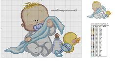 SCHEMA BIMBO PUNTO CROCE Baby Cross Stitch Patterns, Cross Stitch Baby, Pinterest Cross Stitch, Doll Patterns, Crochet Patterns, Minnie Baby, Cross Stitch Boards, Donia, Japanese Embroidery