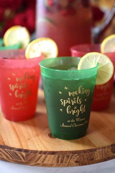 Making spirits bright this holiday season, these personalized 16 oz Christmas party cups are available in red or green and are just the right size for serving holiday cocktails, punch, and beer.  Custom printed with a festive design and up to three lines of custom text.  Dishwasher safe, they make the ideal party guest souvenir idea.  Your friends and family will love taking these home. To view and order, visit http://www.tippytoad.com/16-ounce-color-frosted-plastic-christmas-cups.asp