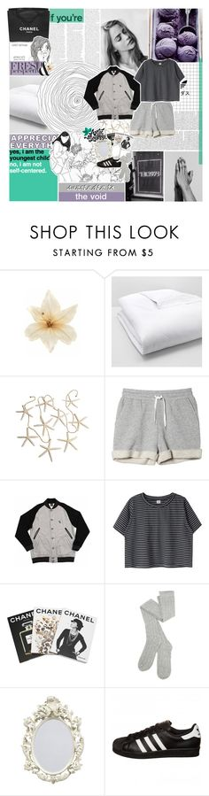 """Joo Joo Eyeballs"" by bosspresident ❤ liked on Polyvore featuring Chanel, Clips, Matouk, Monki, Assouline Publishing and adidas Originals"