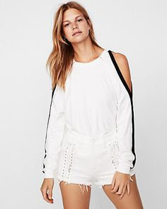 96696be1cd2 express one eleven cold shoulder sporty sweatshirt White Women