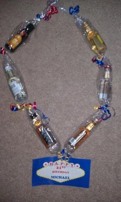 An alcohol lei I made for my daughter's boyfriends 21st birthday.  It's a GREAT gift idea!!