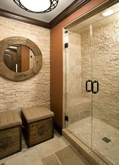 Bathroom Stone Wall elements can add a contact of style and design to any home. Bathroom Stone Wall can mean many issues to many people, however all of them… Rustic Bathroom Designs, Rustic Bathrooms, Bathroom Interior Design, Modern Bathrooms, Master Bathrooms, Bathroom Mirrors, Small Bathroom, Remodel Bathroom, Bathroom Cabinets