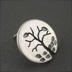 Silver Autumn Tree Tie Tack