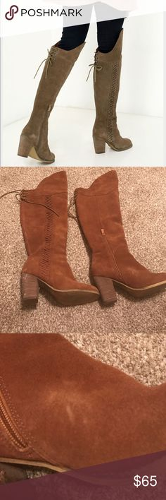 Sbicca over the knee boots Good used condition. Has some scuffs on the heels. This is a cognac color suede over the knee boot. Sbicca Shoes Over the Knee Boots