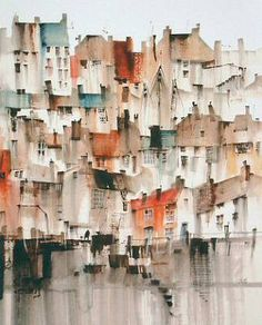 Sue Howells City Painting, Oil Painting Abstract, Painting & Drawing, Watercolor Architecture, Watercolor Landscape, Lady Lever Art Gallery, Simple Oil Painting, Abstract City, Watercolor Artwork