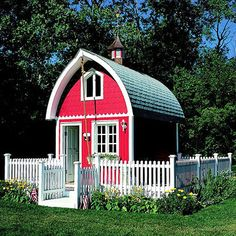 "Little House on the Farm  Complete with its own fenced-in mini yard, a playhouse re-uses forms, materials, and colors from classically designed barns. Inside, soaring ceilings give way to a loft, and a rope out front calls playmates to ""dinner."""