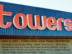 Towers Department Store lasted longer in Canada than in the United States. Retail Signs, Canadian History, Time Warp, Teenage Years, My Memory, The Good Old Days, Vintage Ads, Vintage Stuff, Department Store