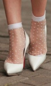 pointy, white, loubs, sheer, socks, frou, fashionista, luxury