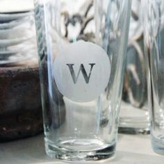 Create your own etched monogrammed glasses using three easy steps. Saw someone do this with a casserole dish taken to a potluck with their last NAME on the bottom. So clever. Wish I could do it to my dvds I loan out :/