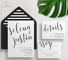 Printable Wedding Invitation Suite Calligraphy / Black and White / Invitation…