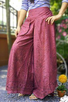 VTG HIPPIE BOHO oriental harem gypsy yoga belly dance art fisherman skirt pants  skirt pants maxi pants