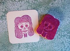 sugar skull pinup girl hand carved stamp.