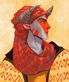 Tiefling_Arab Yarha by Phobs Character Concept, Character Art, Concept Art, Dnd Characters, Fantasy Characters, Fantasy Kunst, Fantasy Art, Character Illustration, Illustration Art