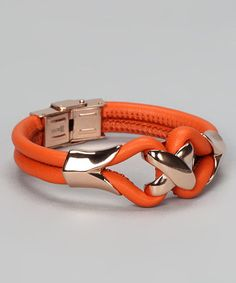 Take a look at this Rose Gold & Orange Leather Bracelet by HMY Jewelry on #zulily today!
