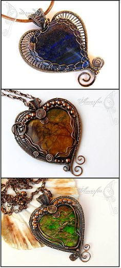 3 heart pendants by Amorfie Unique Jewelry on Etsy