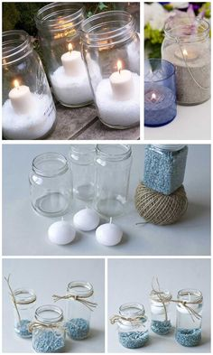 Easy Crafts Ideas at Home Here are some of the most beautiful DIY projects you can try for your self at home If you enjoyed this DIY room dec. Jar Crafts, Bottle Crafts, Home Crafts, Diy And Crafts, Jar Centerpiece Wedding, Mason Jar Centerpieces, Decor Home Living Room, Hand Embroidery Art, Bottle Candles