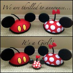 better hats of course Disney Gender Reveal, Gender Reveal Photos, Pregnancy Gender Reveal, Baby Shower Gender Reveal, Baby Gender, Disney Baby Announcement, Gender Announcements, Disney Maternity, Gender Party