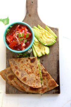 Quesadillas with Cilantro Pesto, Fresh Pico de Gallo & Avocado