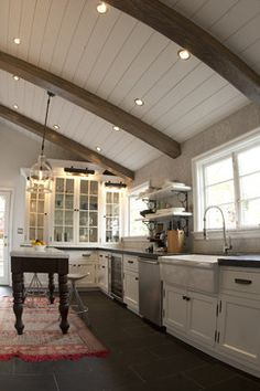 For the new house living room? beams & panel ceiling design - White Shaker Kitchen Design, Pictures, Remodel, Decor and Ideas - page 19 Wood Plank Ceiling, Wooden Ceilings, Wood Beams, Vaulted Ceilings, Shiplap Ceiling, Sloped Ceiling, White Ceiling, Faux Beams, Painted Wood Ceiling