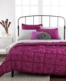 Republic Bedding, Knotted Squares Fuschia Pink Berry 3 Piece Full Size Duvet Cover Set NEW