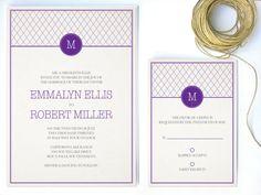 Modern Wedding Invitation Purple Monogram by twigsprintstudio