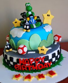Talking myself out of the tree: Mario Kart Cake Cupcakes Super Mario, Bolo Super Mario, Mario Birthday Cake, Boy Birthday Parties, Birthday Ideas, Mario Kart Cake, Yoshi, Polka Dot Cakes, Biscuit