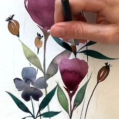 Watercolor Painting Techniques, Watercolor Paintings, Watercolor Projects, Painting Videos, Watercolors, Watercolor Flowers Tutorial, Step By Step Watercolor, Motif Floral, Botanical Prints